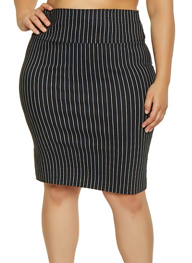 Plus Size Striped Pencil Skirt,BLACK/WHITE,large