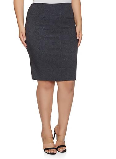 Plus Size Printed Stretch Pencil Skirt,BLACK,large
