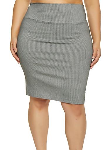 Plus Size Printed Pencil Skirt,BLACK,large