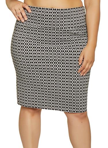 Plus Size Printed Pencil Skirt,BLACK/WHITE,large