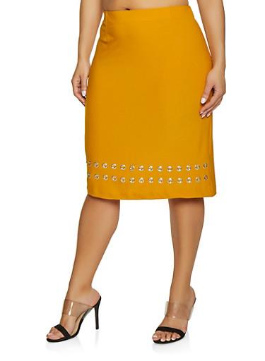 Plus Size Grommet Trim Pencil Skirt,MUSTARD,large