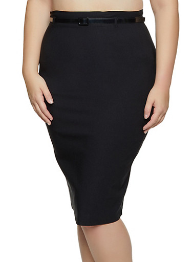 Plus Size Belted Stretch Pencil Skirt,BLACK,large