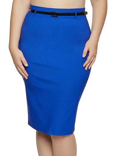 Plus Size Belted Stretch Pencil Skirt,RYL BLUE,large