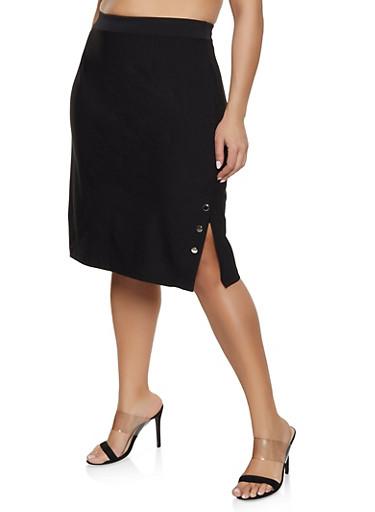 Plus Size Button Detail Side Slit Skirt,BLACK,large