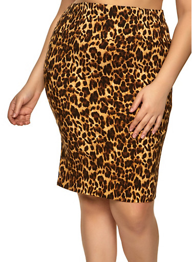 Plus Size Printed High Waisted Skirt,BROWN,large