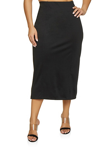 Plus Size High Waisted Pencil Skirt,BLACK,large