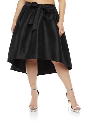 Plus Size High Low Taffeta Skirt,BLACK,large
