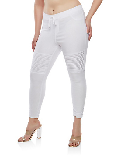 Plus Size Ruched Jeggings,WHITE,large