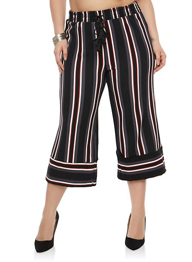 Plus Size Striped Crop Palazzo Pants,BLACK/BURG,large