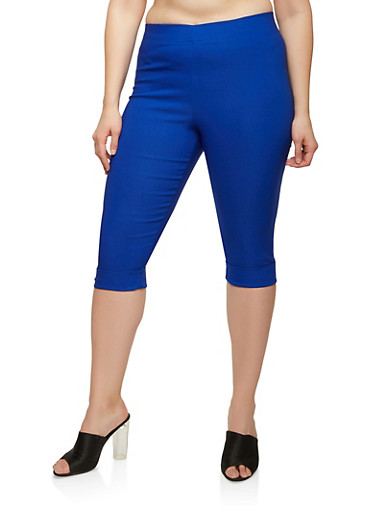 Plus Size Stretch Capri Pants,ROYAL,large