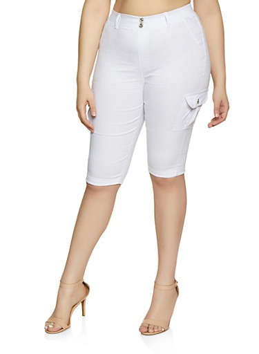 Plus Size Stretch Cargo Capris,WHITE,large