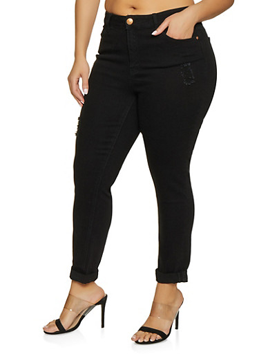 Plus Size Almost Famous High Waisted Jeans,BLACK,large