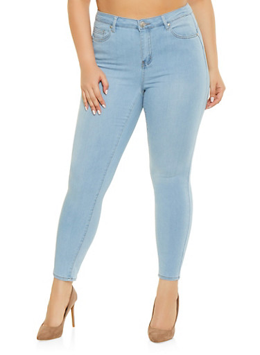 Plus Size Almost Famous Push Up Skinny Jeans,LIGHT WASH,large