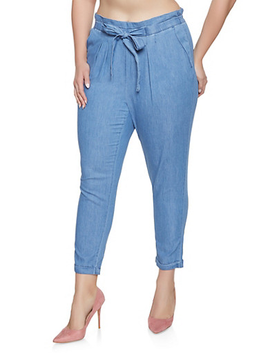 Plus Size Almost Famous Chambray Tie Front Trousers,MEDIUM WASH,large