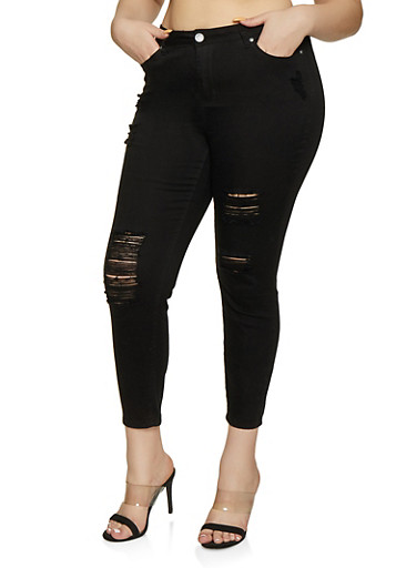 Plus Size Almost Famous High Rise Skinny Jeans,BLACK,large