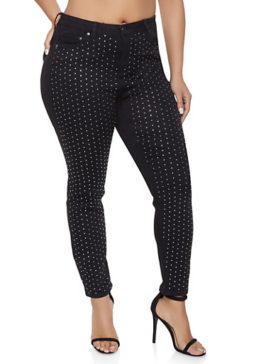 Plus Size Almost Famous Rhinestone Studded Jeans,BLACK,large