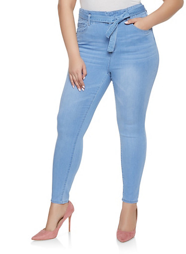 Plus Size Almost Famous Tie Waist Skinny Jeans,LIGHT WASH,large