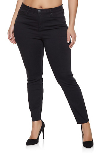 Plus Size Almost Famous Push Up Jeans,BLACK,large