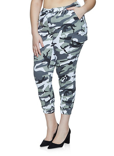 Plus Size Almost Famous Camo Cargo Joggers,WHITE,large