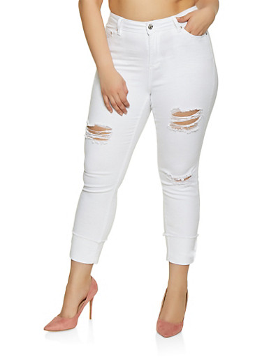Plus Size Almost Famous Frayed Cuff Jeans,WHITE,large