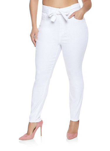 Plus Size Almost Famous Belted Push Up Jeans,WHITE,large