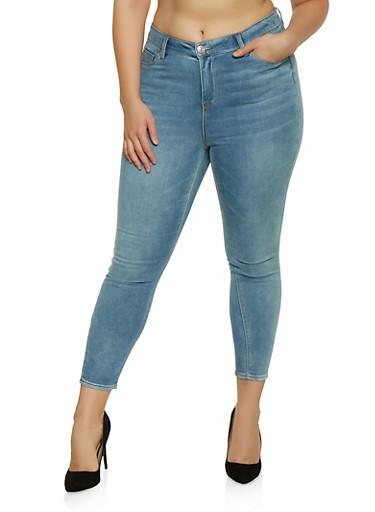 Plus Size Almost Famous Whisker Wash Jeans,MEDIUM WASH,large