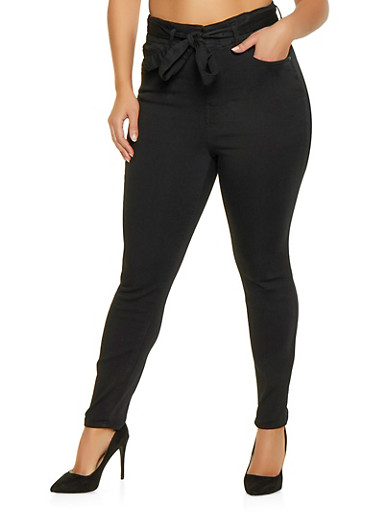 Plus Size Almost Famous Belted Push Up Jeans,BLACK,large