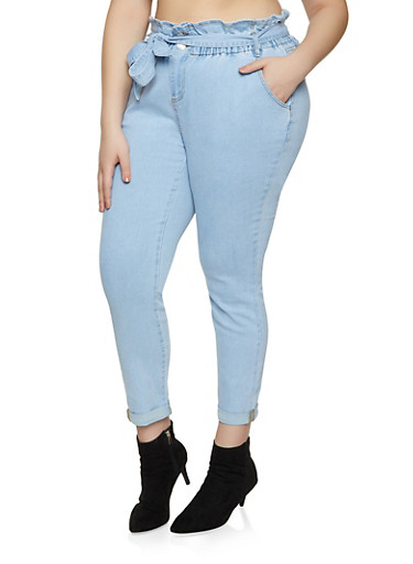 Plus Size Almost Famous Cuffed Paper Bag Waist Jeans,LIGHT WASH,large