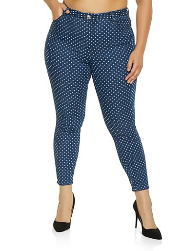 Plus Size Almost Famous Polka Dot Jeans,MEDIUM WASH,large