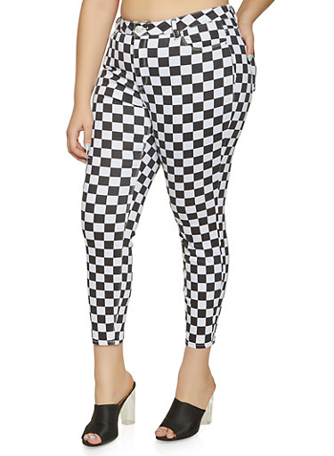 Plus Size Almost Famous Checkered Skinny Jeans,BLACK/WHITE,large