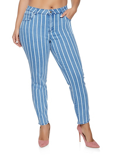 Plus Size Almost Famous Striped Skinny Jeans,LIGHT WASH,large