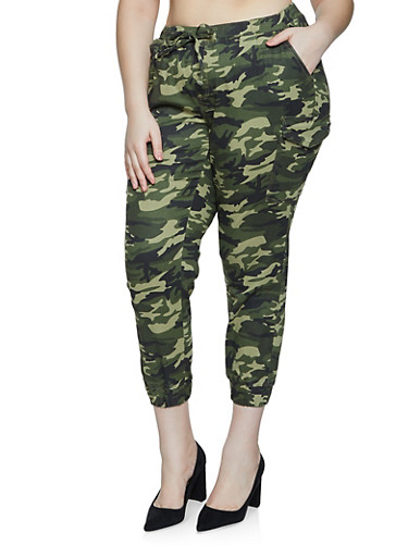 Plus Size Almost Famous Camo Joggers,GREEN,large