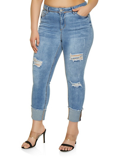 Plus Size Almost Famous Roll Cuff Jeans,LIGHT WASH,large