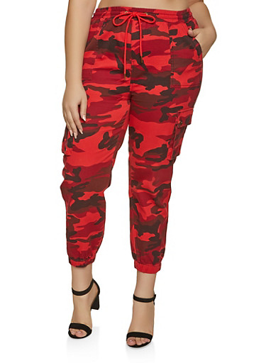 Plus Size Cargo Camo Joggers,RED,large