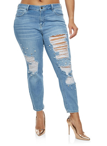Plus Size Cello Faux Pearl Destroyed Jeans,MEDIUM WASH,large