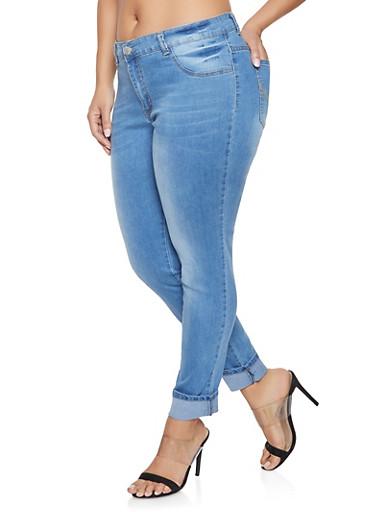 Plus Size Whisker Wash Jeans,MEDIUM WASH,large