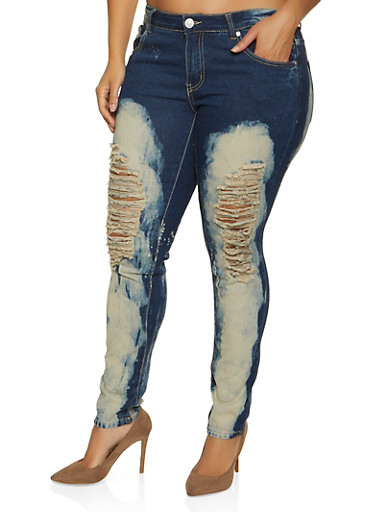 Plus Size Ripped Bleached Jeans,DARK WASH,large