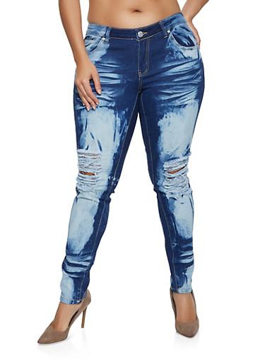 Plus Size Bleached Whisker Wash Jeans,MEDIUM WASH,large