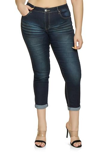 Plus Size VIP Whiskered Roll Cuff Jeans | Dark Wash,DARK WASH,large