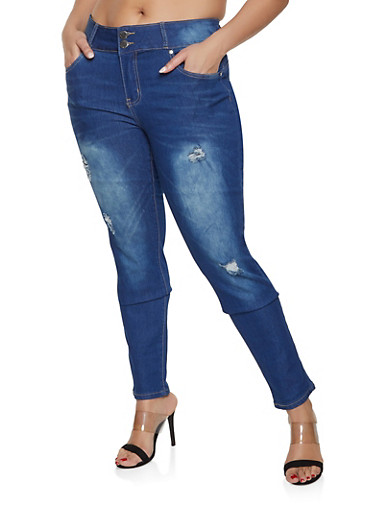 Plus Size VIP 2 Button Medium Wash Jeans,MEDIUM WASH,large