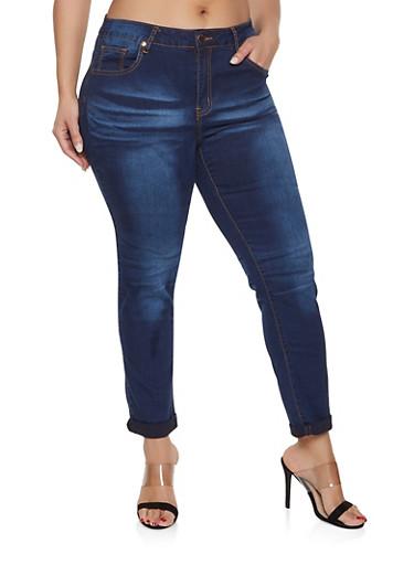 Plus Size VIP Dark Whisker Wash Jeans,DARK WASH,large