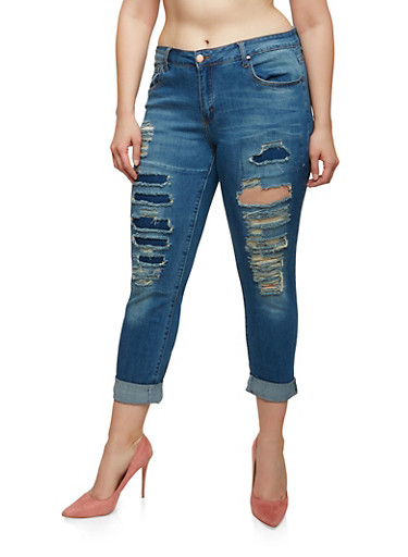 Plus Size VIP Destroyed Patch and Repair Jeans,MEDIUM WASH,large