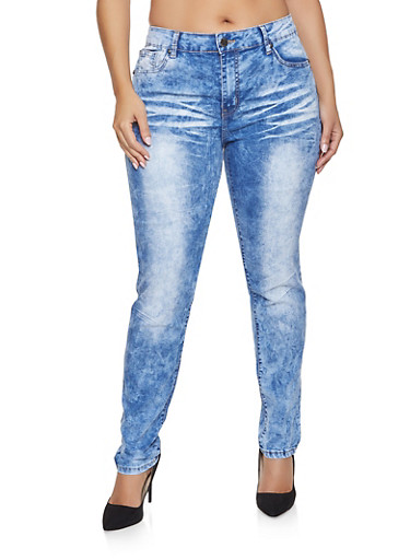 Plus Size VIP Acid Wash Push Up Jeans,BLUE,large