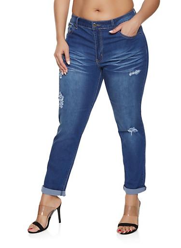 Plus Size VIP Rolled Cuff Jeans | Dark Wash,DARK WASH,large