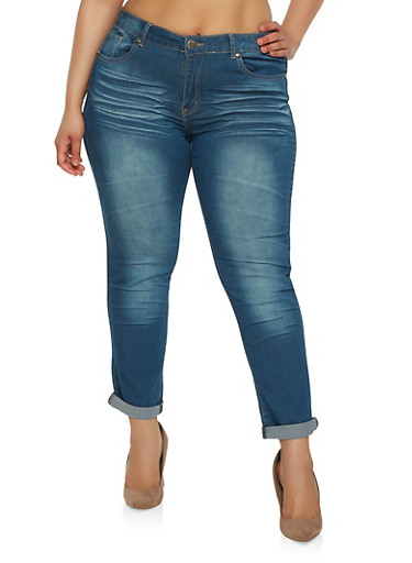Plus Size VIP Whisker Wash Jeans | Tuggl