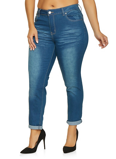 Plus Size VIP Whisker Wash Push Up Jeans,MEDIUM WASH,large