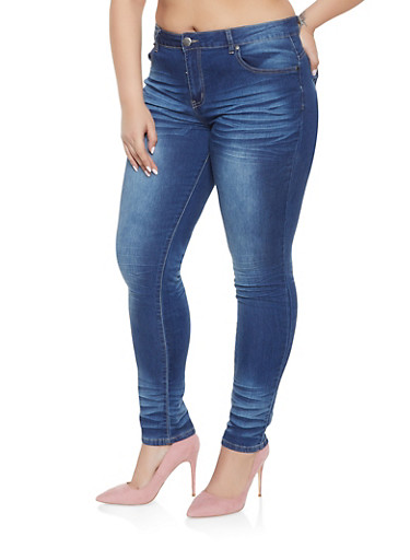 Plus Size VIP Whisker Wash Push Up Jeans,DARK WASH,large