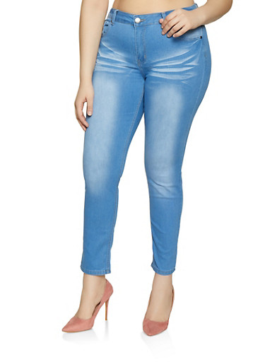 Plus Size VIP Whiskered Skinny Jeans | 1870065300834,LIGHT WASH,large