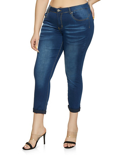 Plus Size VIP Whiskered Roll Cuff Skinny Jeans,MEDIUM WASH,large