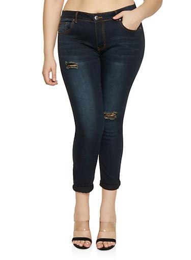 Plus Size VIP Distressed Whisker Wash Jeans,BLACK,large